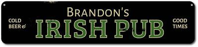 Irish Pub Cold Beer & Good Times Sign, Personalized Name Bar Sign -