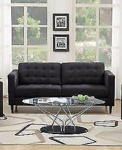 BRAND NEW SOPHISTICATED ,MODERN STYLING GRAY FABRIC LOVESEAT