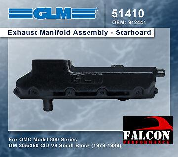 OMC Marine Chevy 5.7 5.7L 350 GLM Log Exhaust Manifold 1979-89 PORT