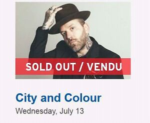 2 tks. City and Colour.  Sold Out show with Dallas and friends