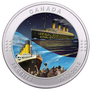 """2012 RMS """"TITANIC"""" SHIP 25 CENTS COIN - MINT CONDITION!!!"""