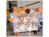 Polly Paper 4ft Black and orange boccah Halloween backdrop