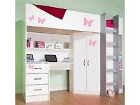 Bunk Bed / High Sleeper cabin bed with wardrobe