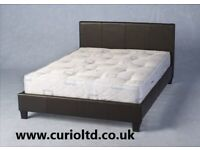 AVAILABLE TODAY New black faux leather double bed ONLY £99 pic 1