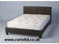 AVAILABLE TODAY New 4ft black faux leather large single / small double bed ONLY £119