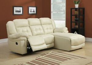 SOFA LOUNGER – SAND BONDED LEATHER / RECLINING