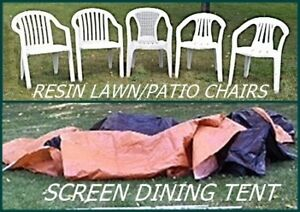 5 white resin lawn chairs $50 all, $10 each // screen tent $25