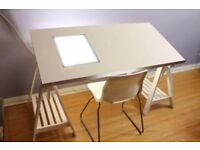 Art Desk - Drafting Table with Lightbox and wooden leg frame