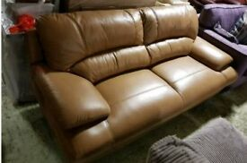 Mustard leather 3 seater sofa