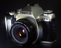 Pentax ZX-M film camera with SMC Pentax -A 1:2 50mm lens