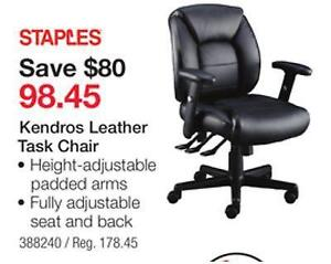 NEW in Box Staples Ergonomic Kendros Leather Chair, Black save $$$ 105 $$$ no bad $$$ recently reduce to $98.45