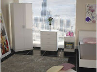 wardrobe, set, dresser, bedside cabinet, 3 piece set. new, pure white, High Gloss, all 3.