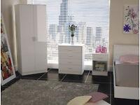 wardrobe, set, dresser, bedside cabinet, 3 piece set. new, white, shiny high gloss.