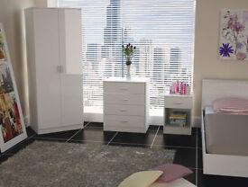 Modern, wardrobe, set, dresser, bedside cabinet, 3 piece set. new, white, shiny gloss. all 3.