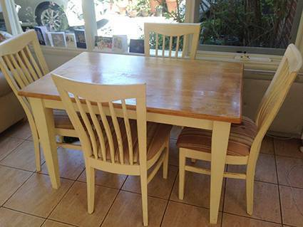 Hardwood Dining Table & Chairs with distressed look