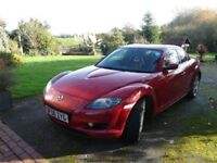 Mazda RX8 (2006) 1.3 4 dr 2616cc petrol engine, in stunning metallic red. One lady owner from new