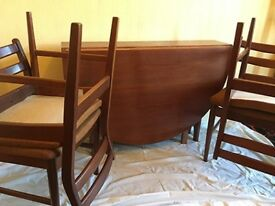 Mid Century Oval Dining Table Gate Leg 4 Chairs