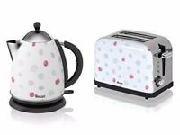AS NEW Swan polkadot 2L pyramid kettle and matching 2 slice toaster