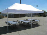 White/Black/Blue folding chairs,round table,Tents,speakers Rent