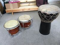 Tabla, bongos, terracotta hand drum