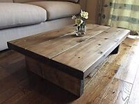 Unwanted brand new hand made rustic wood coffee table
