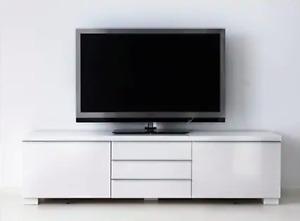 IKEA BESTÅ BURS TV bench, high gloss white