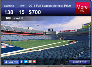 Buffalo Bills Tickets (lower level at the goal line)