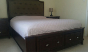 Queen size bed and 2 night tables