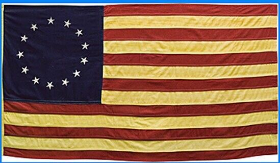 """Primitive American Nylon  Betsy Ross 13 STAR FLAG wSLEEVE TEA STAINED 36"""" x 60"""""""