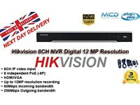 Hikvision 8CH NVR Digital 12 MP Resolution 256 Mbps incoming bandwidth