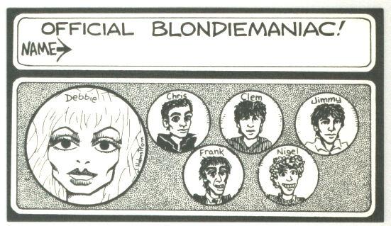 1978 Official Fan Club Blondiemaniac Card Blondie Debbie Harry Deborah Harry