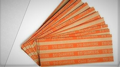 20 QUARTER - Pop - Open Flat Paper Wrappers / Tubes For Quarters FREE SHIPPING