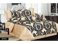 Cream and black 7 piece bed spread NEW condition