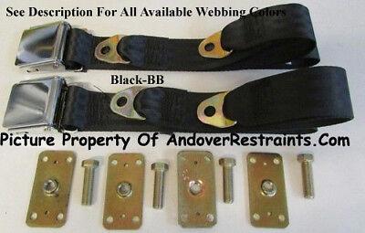 """Retro Vintage 2 Point Lap Seat Belts (2) With Retrofit Kit  -Select Color- 60"""""""