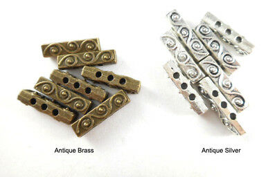 Antique Silver Plated Lead Free Alloy 18.5x5mm Baroque 3 Strand Spacer Bars Q30 5 Strand Spacer Bar