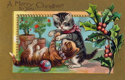 Vintage Christmas~Cute Kitty Cats Play w Ball~Geraniums~Holly~NEW Lge Note Cards