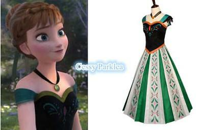 Deluxe Teenage & Adult Princess Anna Coronation Dress Costume Disney Frozen