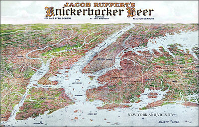 1912 Knickerbocker Beer New York City Map Poster 11X17 Jacob Ruppert Yankees