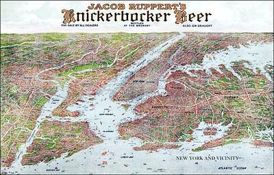 1912 Knickerbocker Beer New York City Map Poster 11X17 Jacob Ruppert Yankees