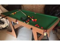 Snooker Table with Snooker and Pool balls
