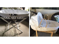 2 Moses baskets both with stands