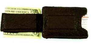 Dark-Brown-BUFFALO-Leather-Money-Clip-Card-Case-handmade-disabled-Navy-veteran