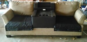 Gamer Couch - power + USB + console storage + cup holders