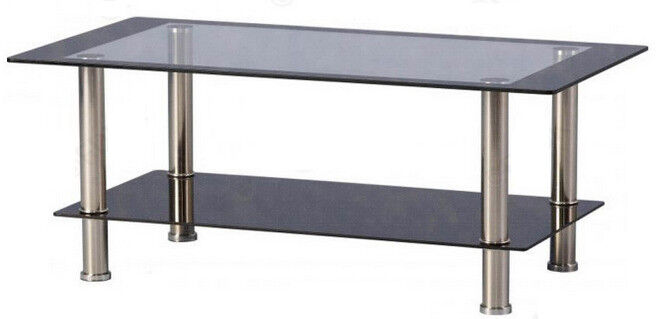 Black/Clear Rectangle Shape Glass Coffee Table