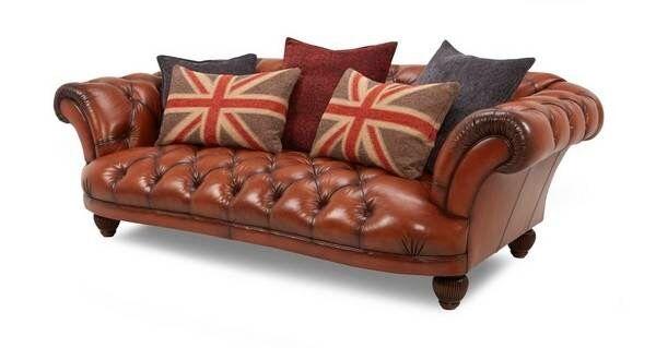 Amazing Dfs Oskar Leather Chesterfield Sofa