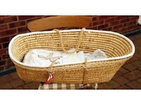 Moses basket never used (without mattress) with blanket and sheet