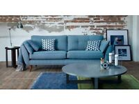 DFS Zinc French Connection Sofa 4 seater love seat and large footstool