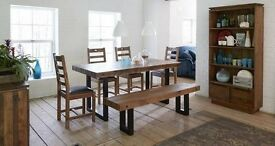 Brand new unopened box dining table with 2 chairs and bench from dfs with matching coffee table