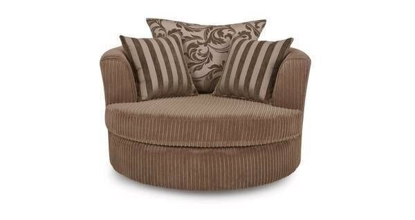 Luxury Large Swivel Fabric Chair with Half Moon Foot stool & Foam Cushions***Worth £1299***