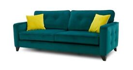 DFS teal velvet 4 seat sofa settee. 3 months old. No smokers or pets. Armchair too. Heysham.